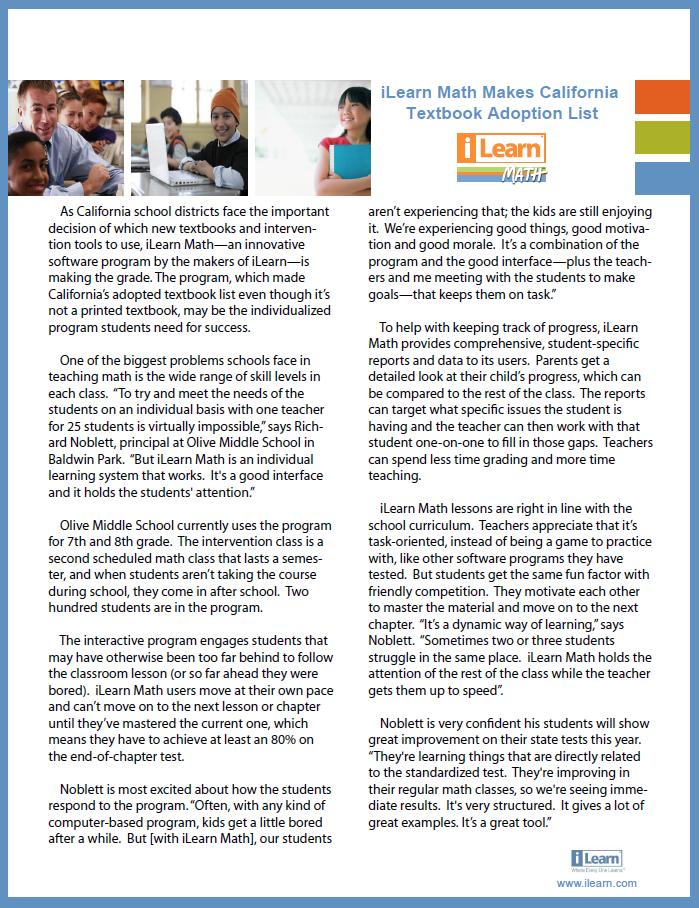 iLearn Math Makes California Textbook Adoption List